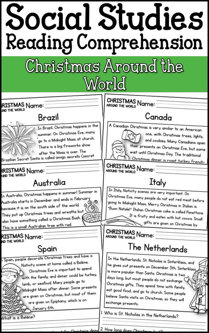 Christmas Around The World Reading Comprehension K 2 Distance Learning Reading Comprehension Passages Comprehension Passage Homeschool Social Studies Christmas comprehension worksheets 5th