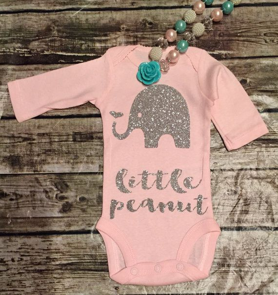 Elephant Onesie, Little Peanut Onese, Baby Girll Onesie, Girls Shirt,Baby Girl Clothes, Onesies, Onesie For Baby  Our sparkle onesies are a huge