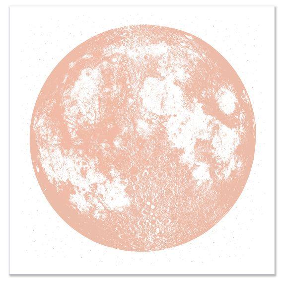Kupfer Mond Print, Platz 22 x 22 große Siebdruck, metallische Tinte auf weißen hellen stellar Baumwolle Papier, rad Luna Mond Wandkunst, Raum, Sternen