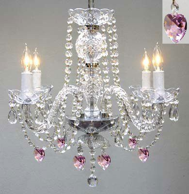 "Swarovski Crystal Trimmed Chandelier! Chandelier Lighting W/ Crystal Pink Hearts! H 17"" W17"" - Perfect For Kid'S And Girls Bedroom! - G46-B21/275/4 Sw"