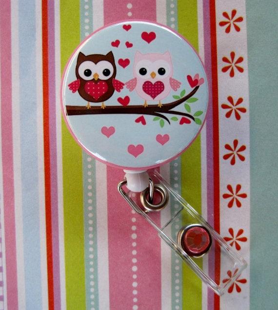 Owl Hearts Badge Holder
