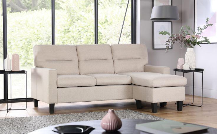 Fletcher Small Oatmeal Fabric Corner Sofa