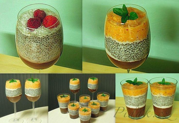 POTŘEBNÉ PŘÍSADY:  2 lžíce chia semínek 1 lžíce celého máku 1ks banánu 1 lžíce kakaa agávový sirup (med) kokos maliny další ingredience: jablko, mrkev, mandle- na oranžovou polevu nebo mango (mango a banán) a další   POSTUP PŘÍPRAVY:  Vytvoříme si makové mléko: do mixéru nalijeme 1/2-1 hrnek vody, přidáme 1 lžíci celého máku a rozmixujeme.