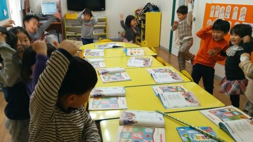 Afterclass with 6 years old...kids having fun doing some action words while dancing^^♥