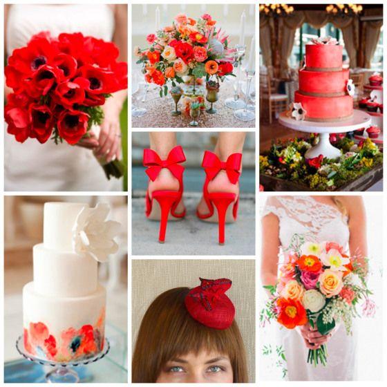 pantone poppy red wedding