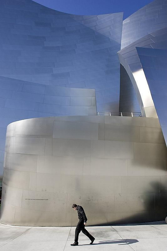 Frank Gehry. Close up of stainless steel facade of the Disney Concert hall. Los Angeles