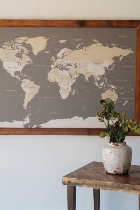 Best 25 world map on wood ideas on pinterest world map framed modern world map world push pin travel map in wood frame 24x36 anniversary gumiabroncs Images