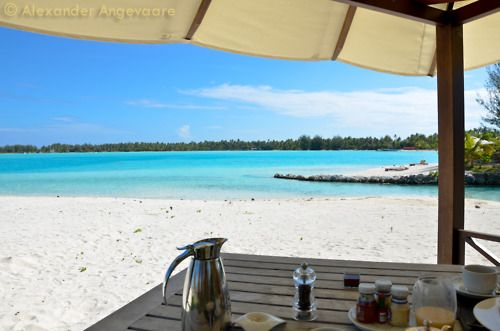 Morning breakfast. A meal that is no longer the quickest meal of the day, well it isn't when you have it sitting in a gazebo on the beach! They even had those tiny little Heinz Ketchup bottles ready to go! I could have stayed there all day, delicious!  ~ Bora Bora, French Polynesia