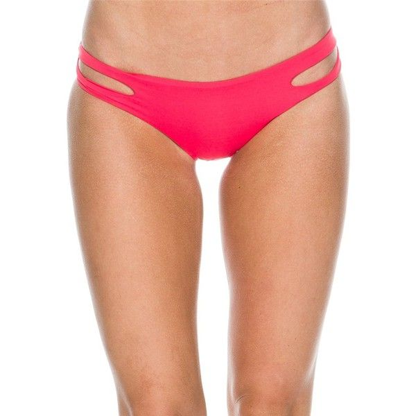 L Space Estella Bikini Bottom ($70) ❤ liked on Polyvore featuring swimwear, bikinis, bikini bottoms, red, cutout bikini bottom, red bikini bottoms, cut out swimwear, bikini bottom swimwear and cut out bikini bottoms