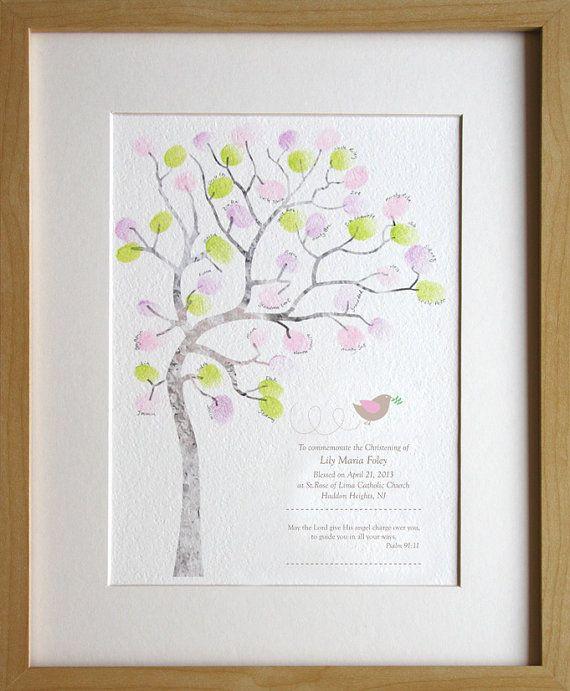 Girl Christening, baptism, naming day, baby girl, fingerprint tree, diy baby room decor, custom birth details, A4 print