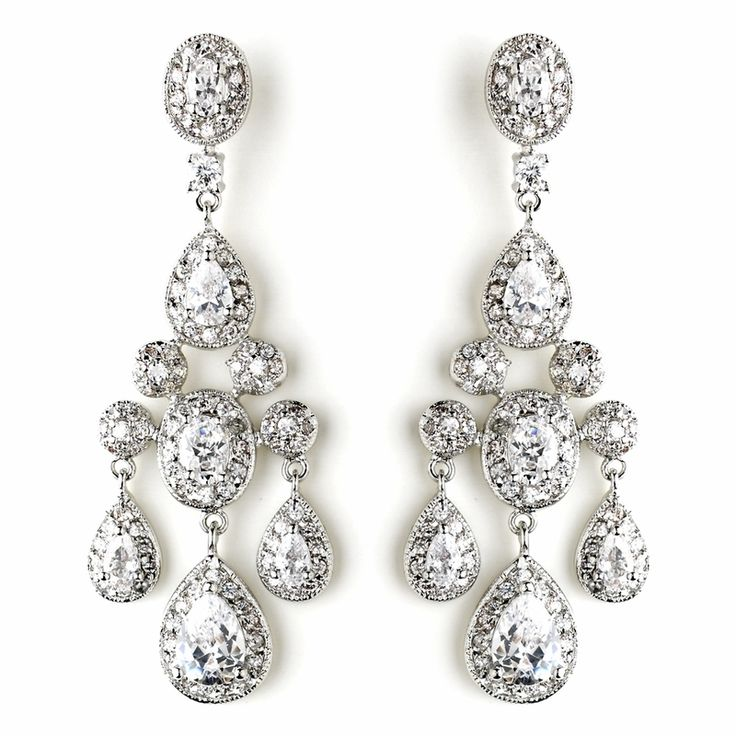 Glamorous Antique Silver CZ Crystal Wedding Chandelier Earrings for your regal wedding! - Affordable Elegance Bridal -