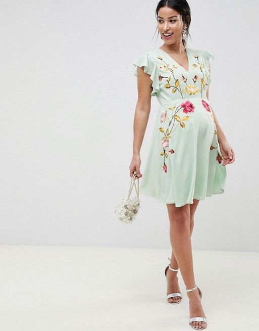 3cabad90dcc5a ASOS Maternity   ASOS DESIGN Maternity embroidered skater dress with  flutter sleeve