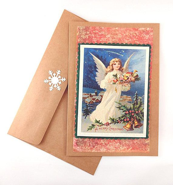 Vintage Angel Christmas Card - Handmade Christmas Card - Vintage Christmas - Winter Greeting Card - Holiday Cards - Blank Card with Envelope | Catleaf Paper Crafts