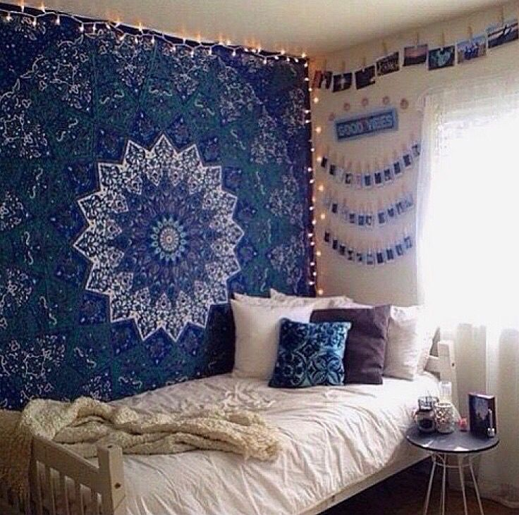 Blue Star Mandala Tapestry With Images Bedroom Wall Hangings