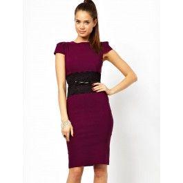 Vestido por la Rodilla Color Burdeos Online MS772