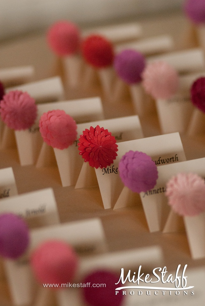 escort cards and the different colors mean different meal choice