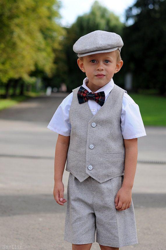 Boy formal wear set vest flat cap pants ring bearer