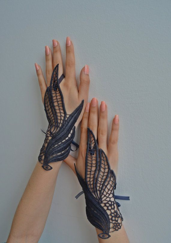 Navy Blue lace gloves burlesque steampunk noir gypsy by newgloves, $25.00