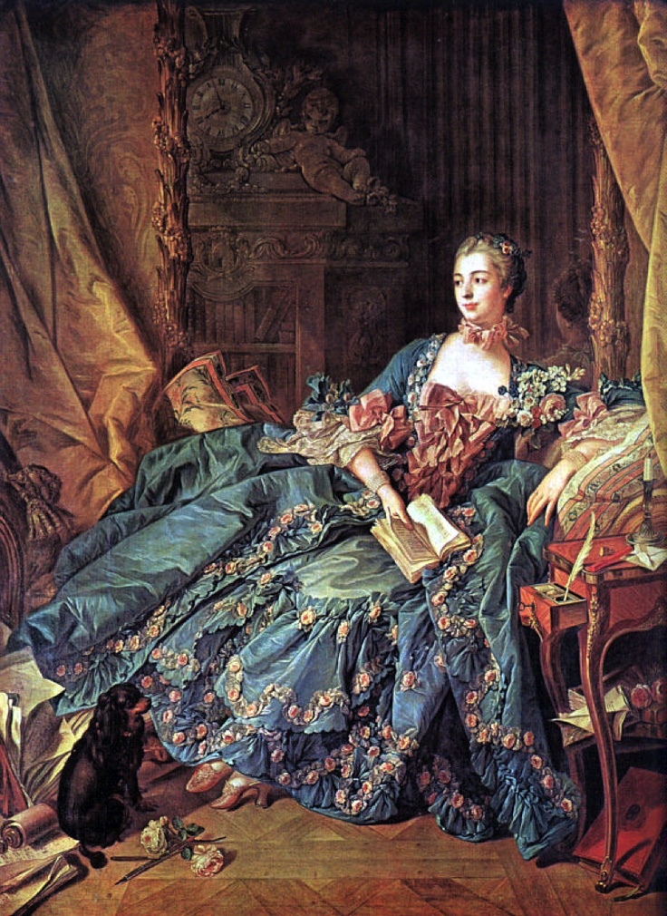 Another portrait of Madame de Pompadour. Isn't that dress to die for? Though Cecilia is a little less ostentatious!
