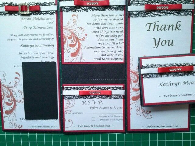 Wedding invite made 2013 for T by Kathryn James using Kaszazz stamp and ribbon from Green Tara.