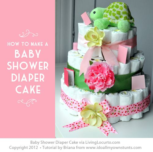 Adorable Baby Shower Diaper Cake with Step-By-Step Instructions. Easy Craft Idea for a Party.