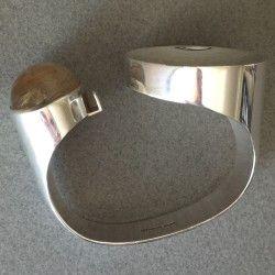 Kaunis Koru Sterling Silver Bracelet with Rutilated Quartz by Olavi L. Wehmersuo, Handmade Sterling Silver - Gallery 925