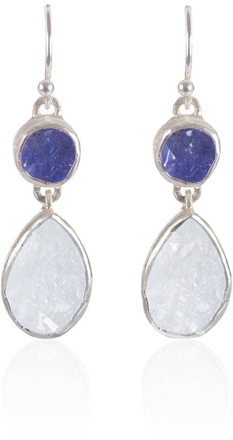 Moonstone And Tanzanite gemstone ladies handmade earrings are suitable for both daytime and evening wear. These lovely earrings are handmade, our natural rough semi-precious gemstones are hand selected for quality and colour ensuring every piece of jewellery is unique. Each rough stone will vary slightly in size, shape and colour. Brushed sterling silver with semi precious rough Moonstone And Tanzanite gemstones.