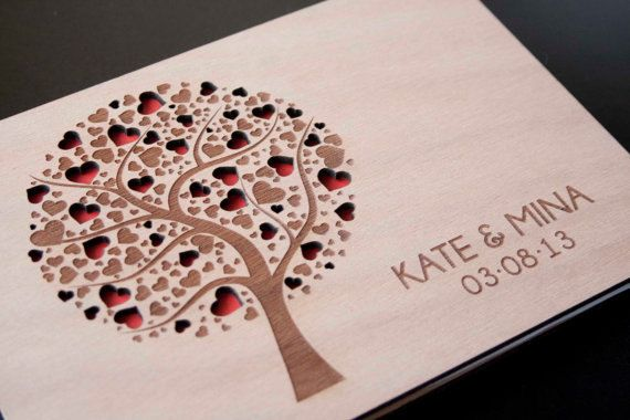 Custom Wedding guest book wood rustic wedding guest book album bridal shower engagement anniversary- Tree of Hearts