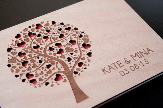 Custom Wedding guest book wood rustic wedding guest book album bridal shower engagement anniversary- Tree of Hearts
