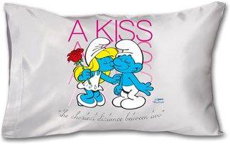 Şirinler - Bir Öpücük - Kendin Tasarla - Yastık 45 x 27 x 10 cm