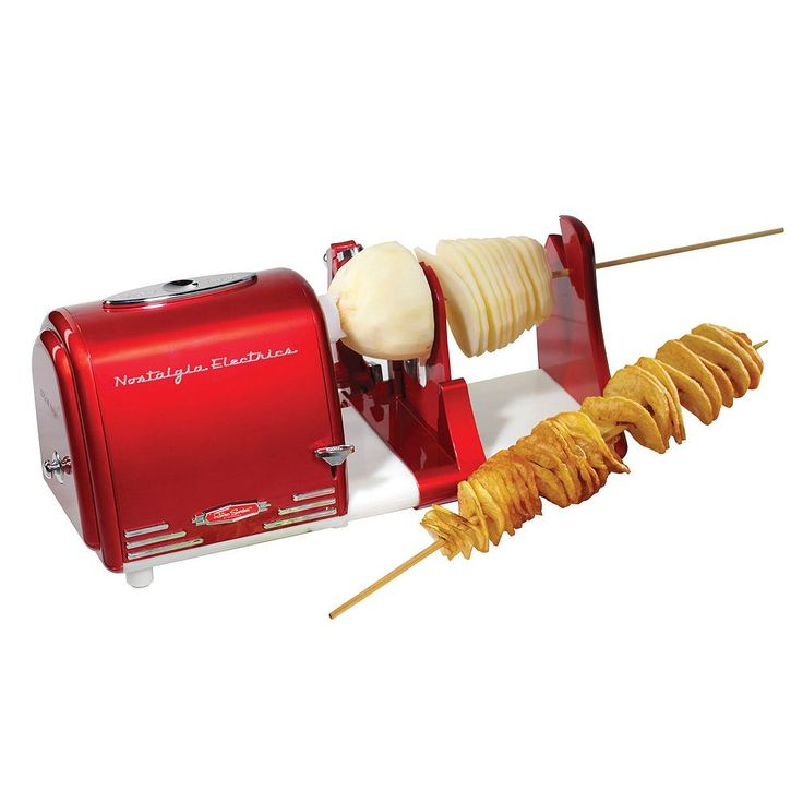 Nostalgia Electrics Retro Series Electric Spiral Twister, Peeler & Potato Chip on a Stick Maker, Multicolor