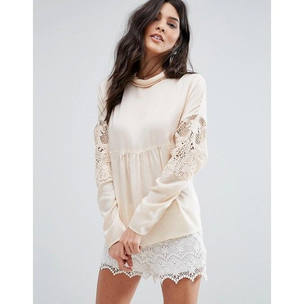 Vila Lace Detail Smock Blouse ($28) ❤ liked on Polyvore featuring tops, blouses, beige, lace sleeve blouse, textured top, oversized blouse, smocked blouse and smock top