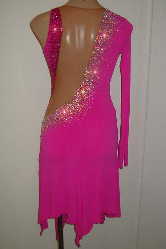 Pink Designer Latin or Rhythm by June Designs, Dance Costumes For Sale, Dance Gowns for sale