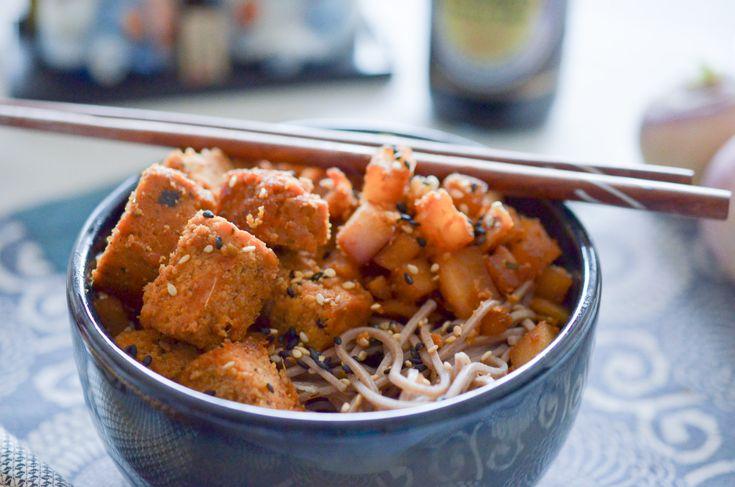 Avez-vous déjà gouté au tofu fumé? Si ce n'est pas le cas, c'est un must taste ! En salade, frit, avec des pâtes, du riz ou des légumes sautés, il apporte sa petite note fumée très agréable. Ici avec des pâtes soba, des navets, et un assaisonnement classique gingembre, sauce...   ...déguster la suite