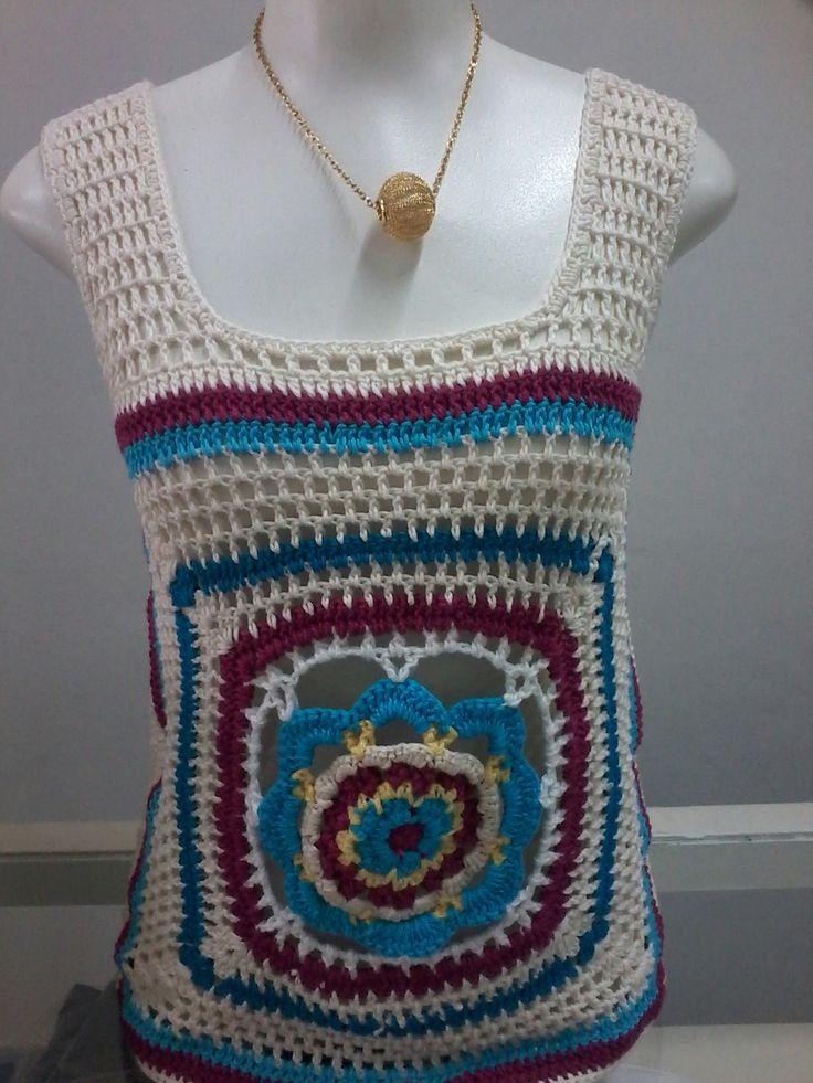 blusa mandala de crochê $25,00