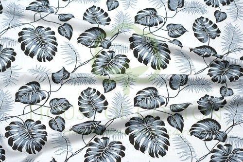 Bawełna tropikalne liście szare