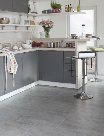 Love these big square grey tiles for the kitchen and dining area