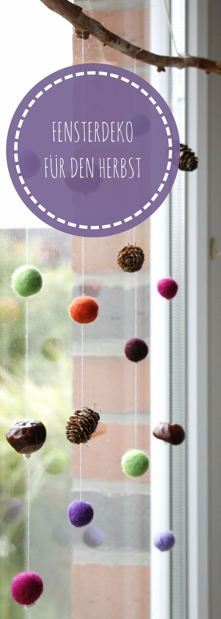 Autumn decoration for the window: felt ball mobile with natural materials