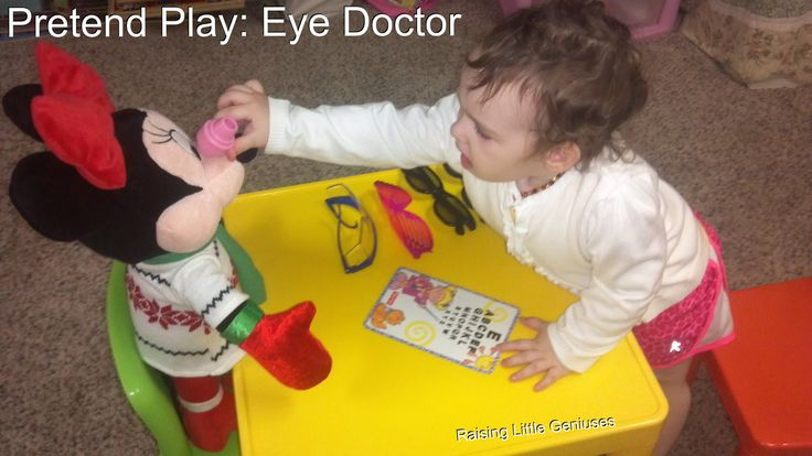 Pretend Play Eye Doctor. A fun idea for dramatic play designed to normalize going to the eye doctor for kids long before they even have to do so themselves.