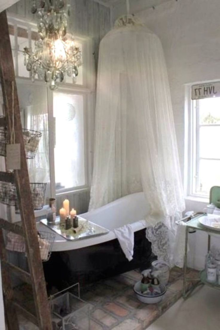 Shabby Chic Luxury. Netting over outdoor tub                                                                                                                                                                                 More