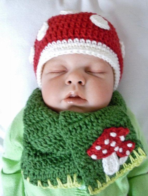 Baby Muts en Sjaal Paddestoel van TeenyWeenyDesign op Etsy, $15,00