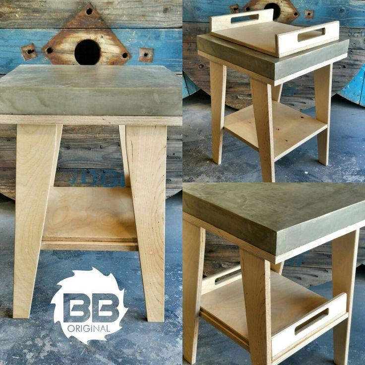 Birch + Concrete Side Table