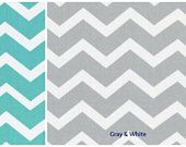 Chevron Curtains - Bedroom Curtains - Nursery Curtains - Blackout Curtains - Turquoise and White Curtains- Curtains -Gray and White Curtains