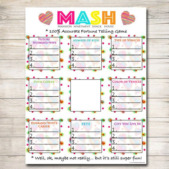 Printable Mash Game, Girls Party Game, Spa Party Beauty