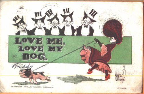 1907/08 'Love Me, Love My Dog' comic postcard by Walter Wellman - lady w/ dog