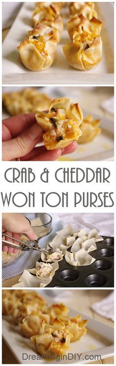 Crab and Cheddar Won Ton Purses Appetizer Recipe - Easy Bite Sized Finger Food Recipe and Perfect for Parties and Special Fun Occasions