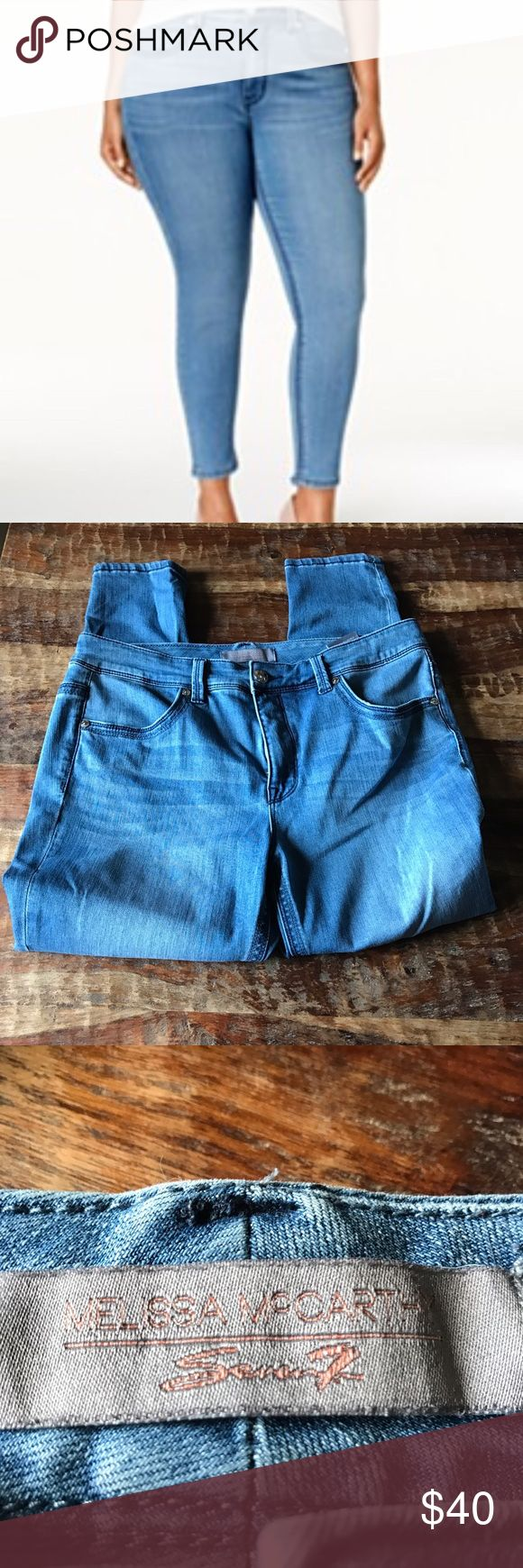 "Seven7 Melissa McCarthy Skinny Jeans In excellent condition with no visible signs of wear. Waist is 19""across laying flat and inseam is 27"" Seven7 Jeans Skinny"