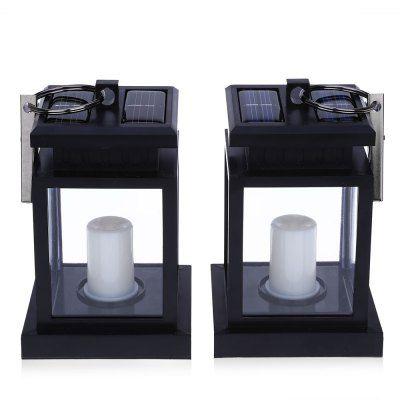2PCS Solar Powered LED Outdoor Candle Lantern Hang Lamp free shipping