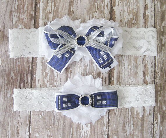 Dr Who Garter Set  White and Blue TARDIS Wedding by GeekyGarters
