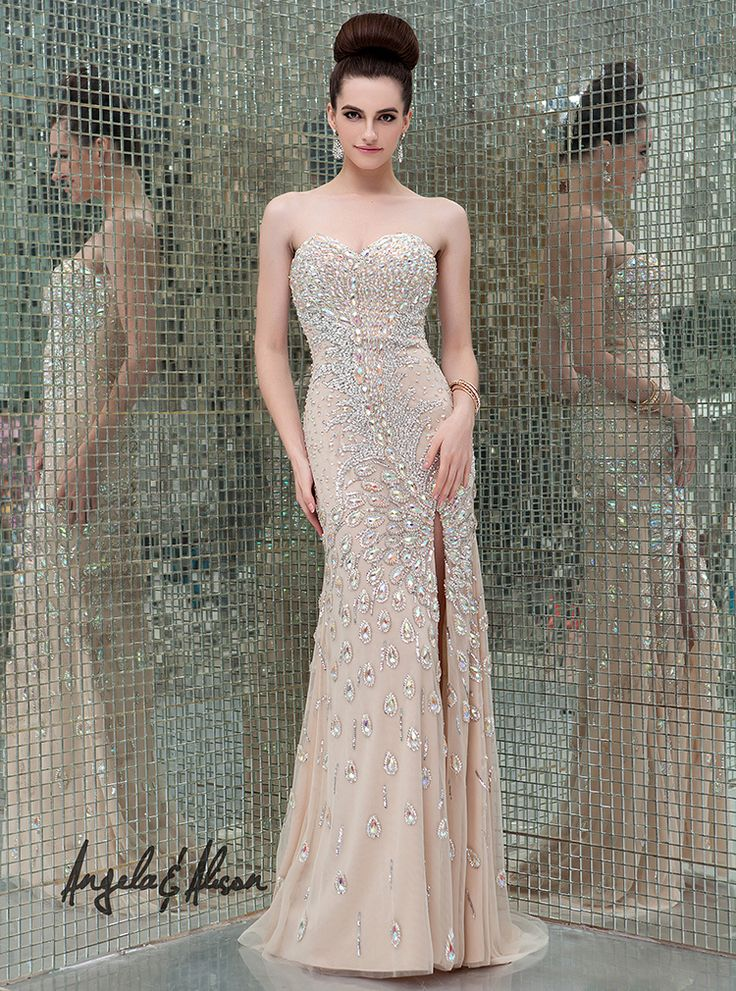 Style 41076 Sweetheart neckline, detailed beaded gown with slit in skirt. Perfect for Prom, Homecoming, Gala, Wedding, Formal, Graduation, Ball... etc.